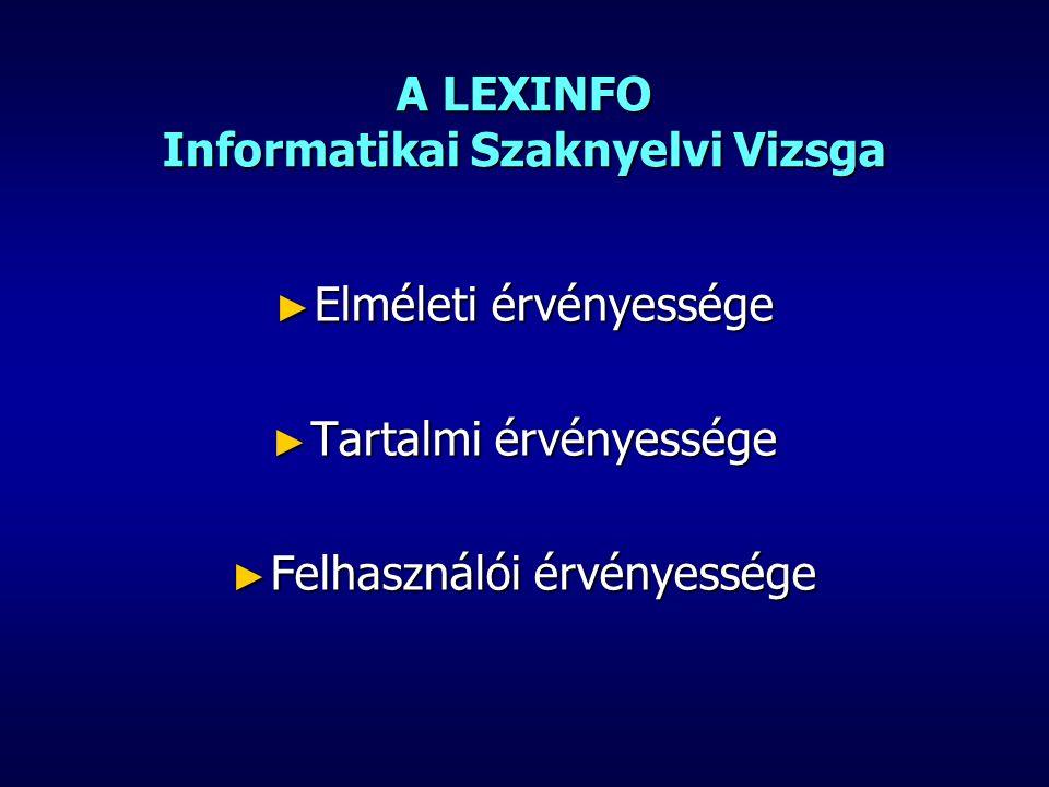 A LEXINFO Informatikai Szaknyelvi Vizsga