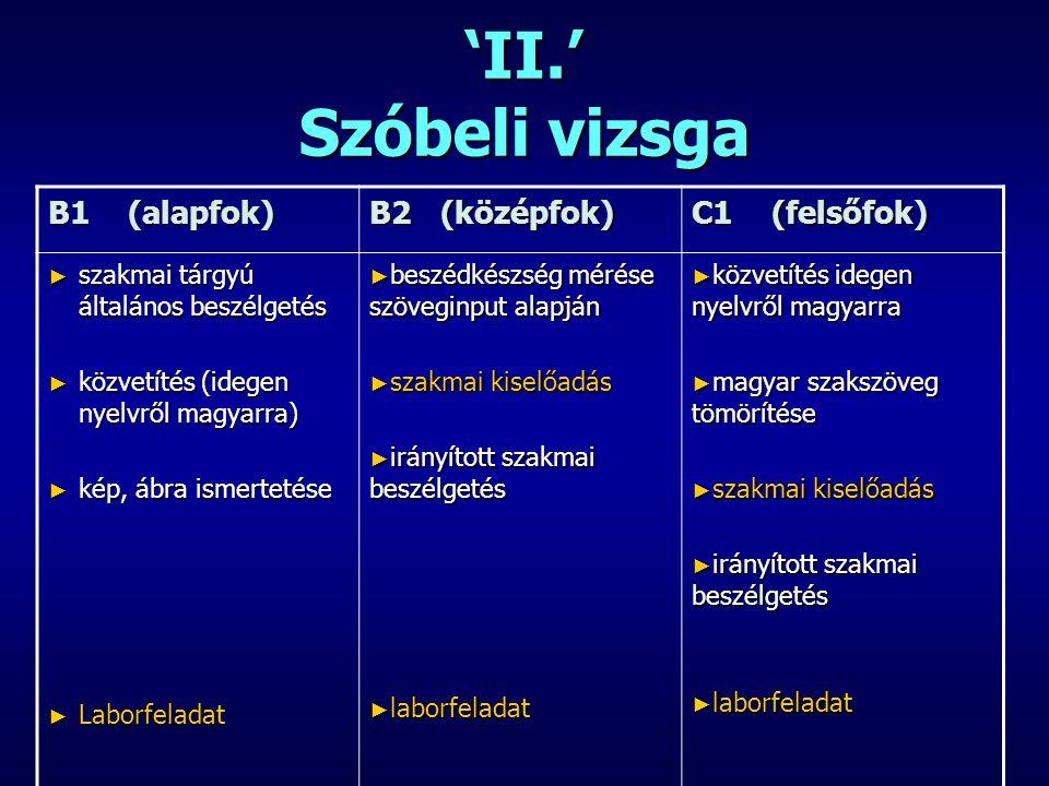 'II.' Szóbeli vizsga B1 (alapfok) B2 (középfok) C1 (felsőfok)