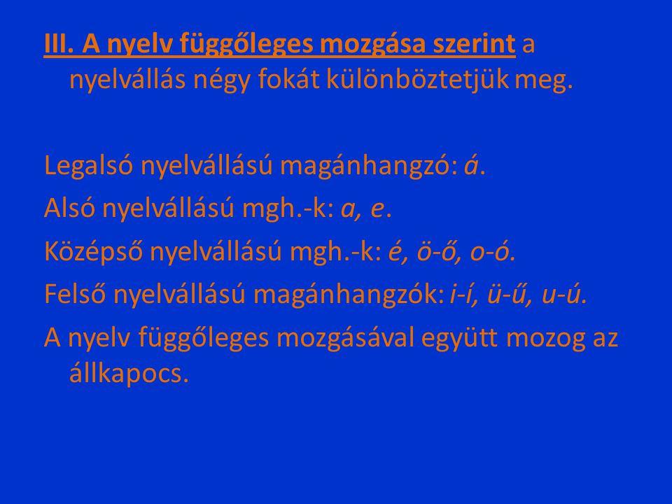 III. A nyelv függőleges mozgása szerint a nyelvállás négy fokát különböztetjük meg.