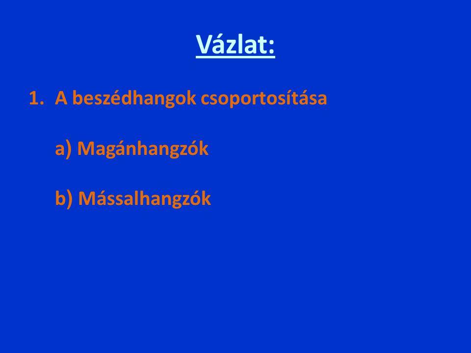 Vázlat: A beszédhangok csoportosítása a) Magánhangzók b) Mássalhangzók