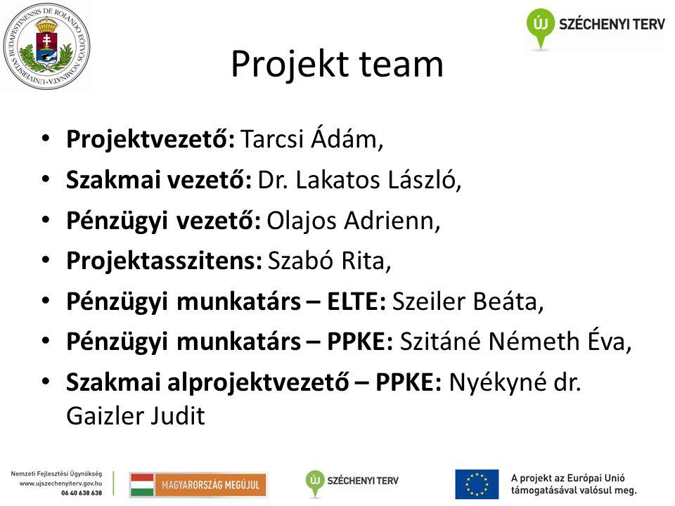 Projekt team Projektvezető: Tarcsi Ádám,