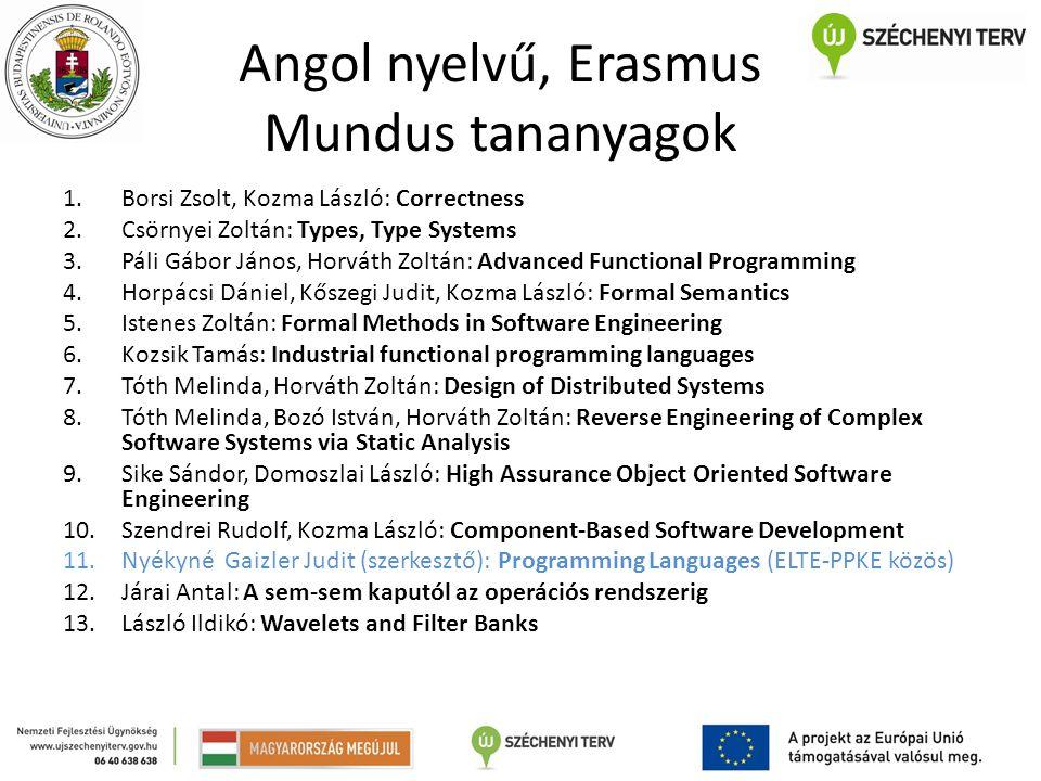 Angol nyelvű, Erasmus Mundus tananyagok