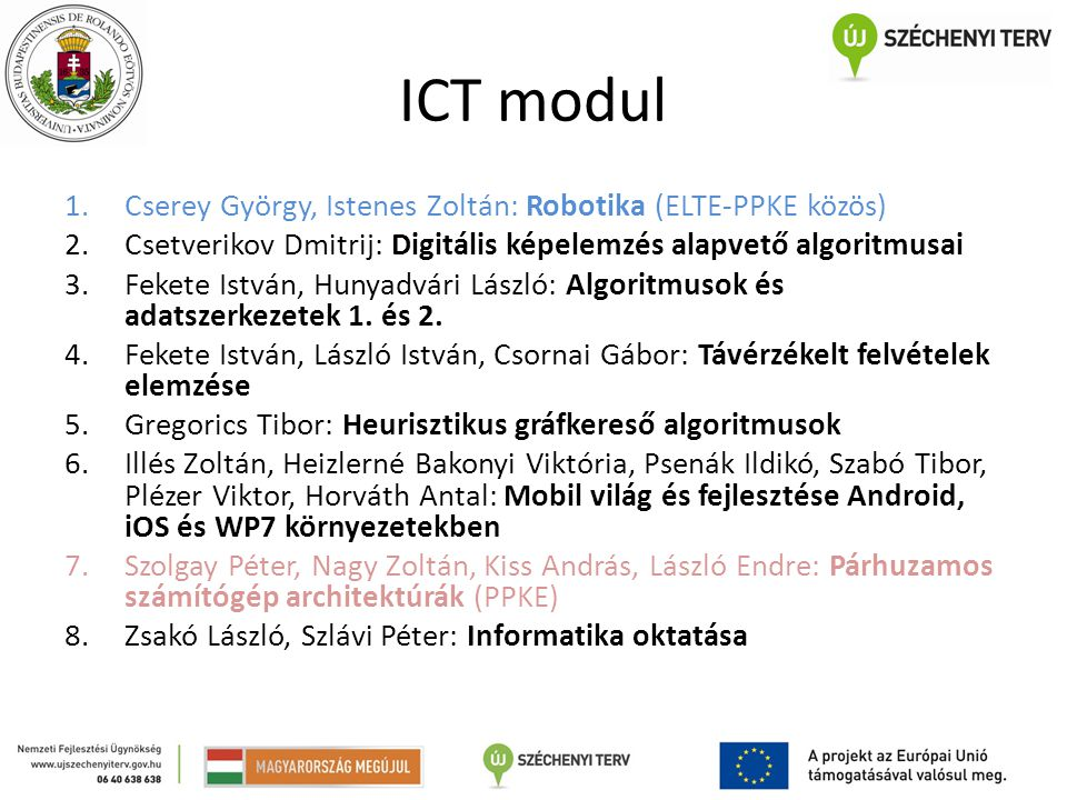 ICT modul Cserey György, Istenes Zoltán: Robotika (ELTE-PPKE közös)