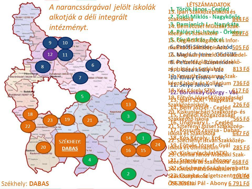 A narancssárgával jelölt iskolák alkotják a déli integrált intézményt.