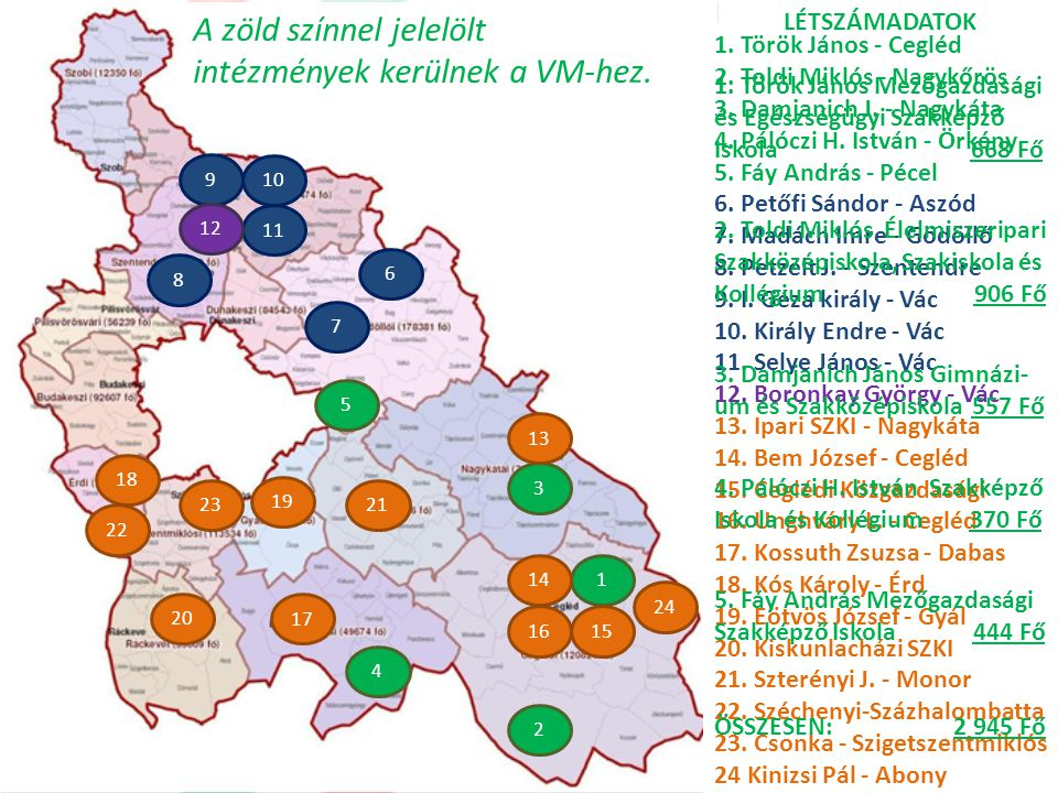 A zöld színnel jelelölt intézmények kerülnek a VM-hez.