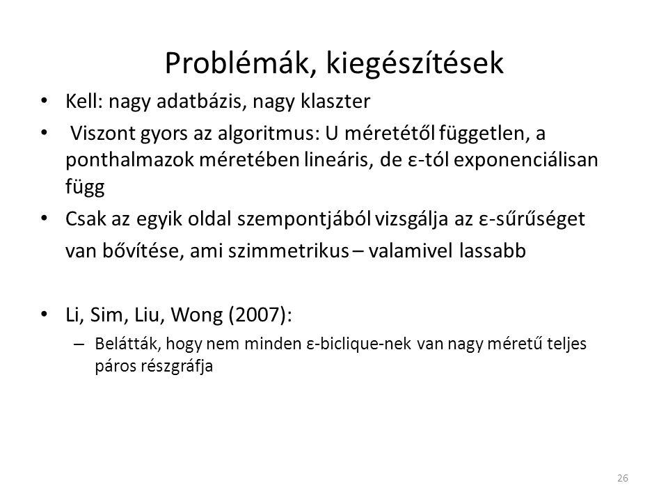 Problémák, kiegészítések
