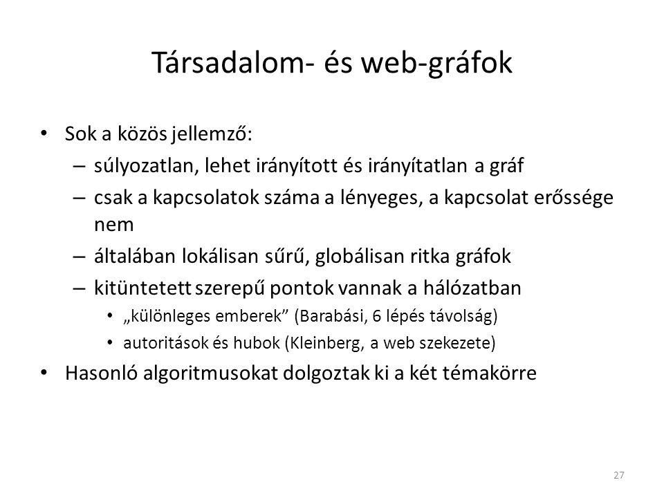 Társadalom- és web-gráfok