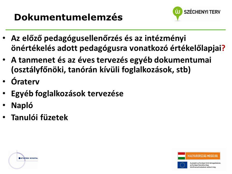 Dokumentumelemzés Az előző pedagógusellenőrzés és az intézményi önértékelés adott pedagógusra vonatkozó értékelőlapjai