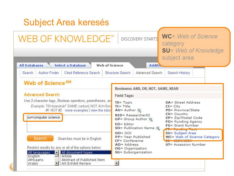 Subject Area keresés WC= Web of Science category