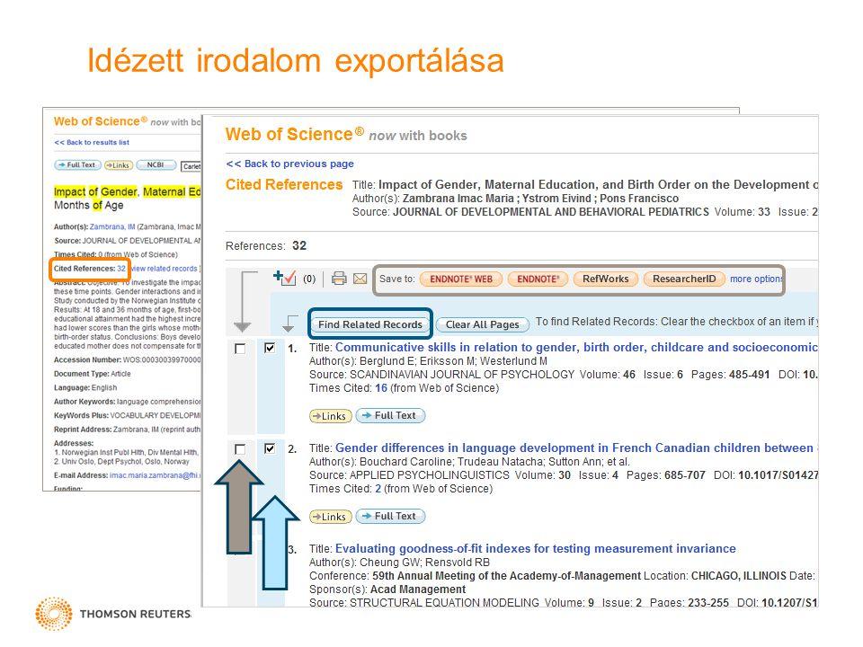 Idézett irodalom exportálása