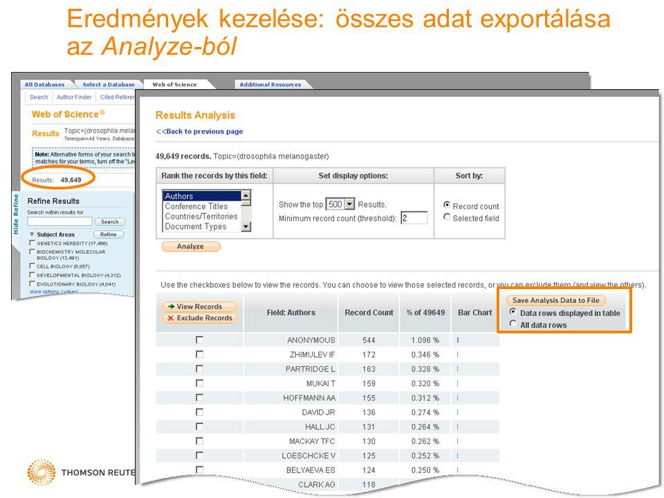 Eredmények kezelése: összes adat exportálása az Analyze-ból