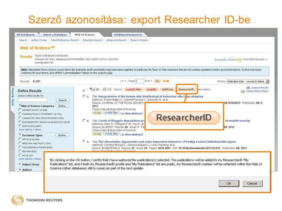 Szerző azonosítása: export Researcher ID-be