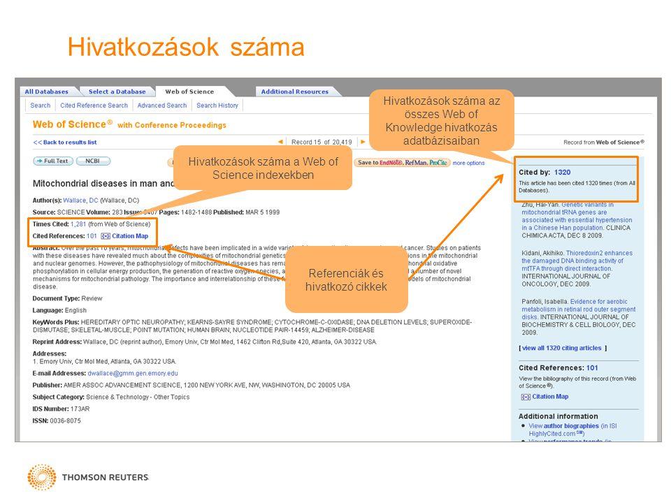 Hivatkozások száma Hivatkozások száma az összes Web of Knowledge hivatkozás adatbázisaiban. Hivatkozások száma a Web of Science indexekben.