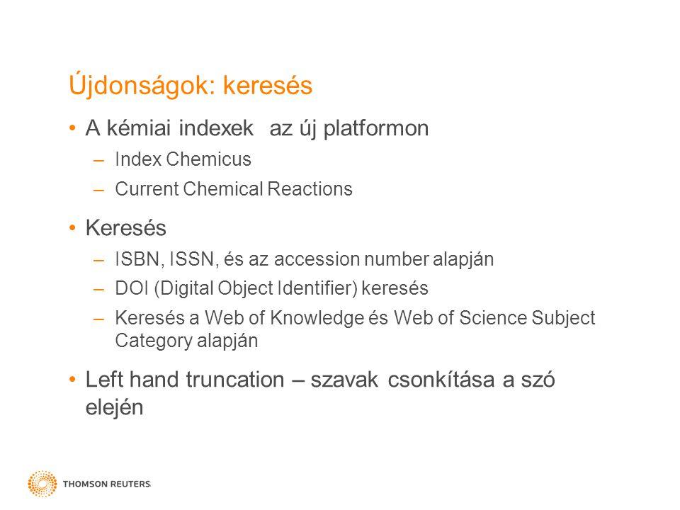 Újdonságok: keresés A kémiai indexek az új platformon Keresés