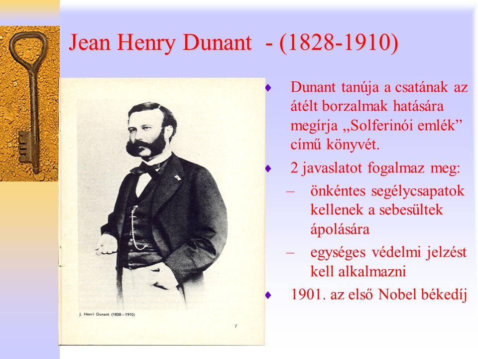 """Jean Henry Dunant - (1828-1910) Dunant tanúja a csatának az átélt borzalmak hatására megírja """"Solferinói emlék című könyvét."""