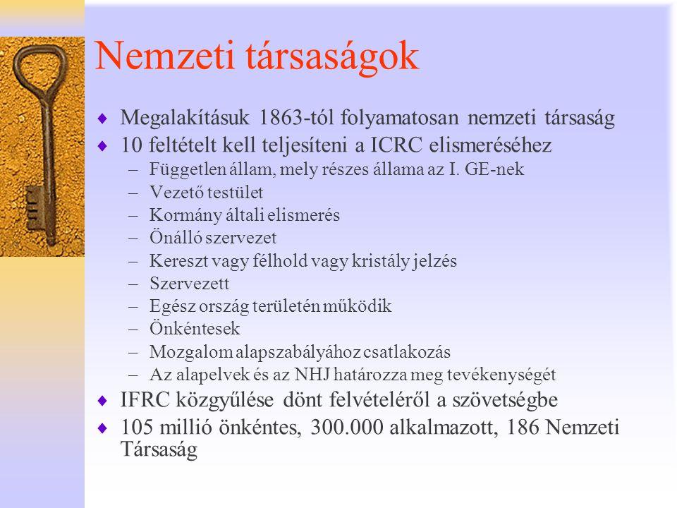 Nemzeti társaságok Megalakításuk 1863-tól folyamatosan nemzeti társaság. 10 feltételt kell teljesíteni a ICRC elismeréséhez.