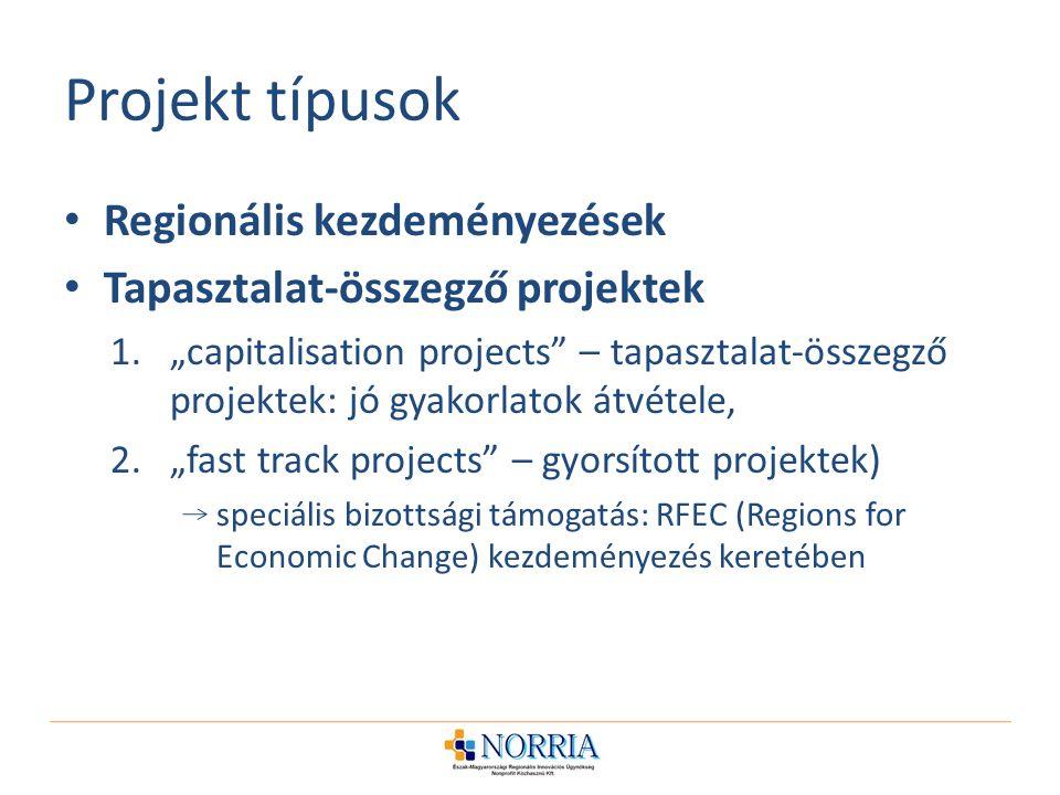 Projekt típusok Regionális kezdeményezések
