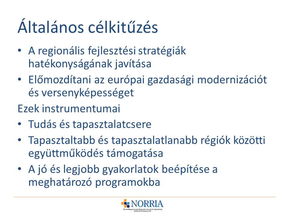 Általános célkitűzés A regionális fejlesztési stratégiák hatékonyságának javítása.