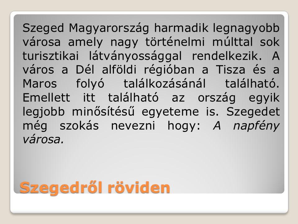 Szeged Magyarország harmadik legnagyobb városa amely nagy történelmi múlttal sok turisztikai látványossággal rendelkezik. A város a Dél alföldi régióban a Tisza és a Maros folyó találkozásánál található. Emellett itt található az ország egyik legjobb minősítésű egyeteme is. Szegedet még szokás nevezni hogy: A napfény városa.