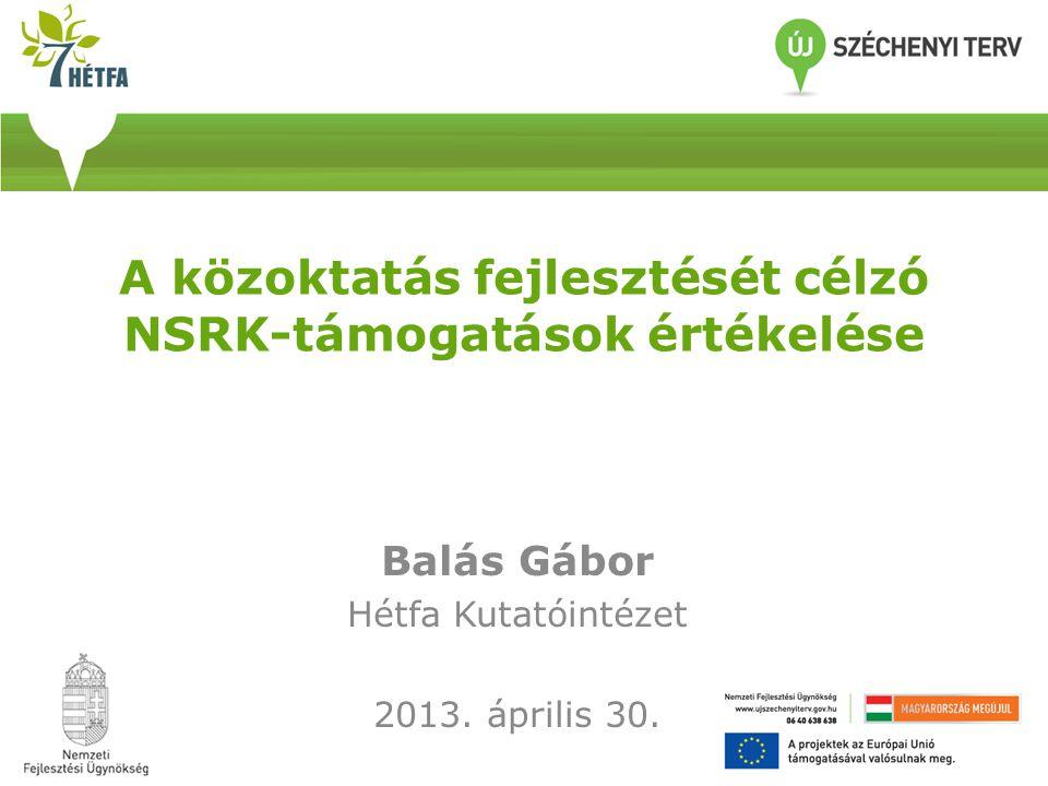A közoktatás fejlesztését célzó NSRK-támogatások értékelése