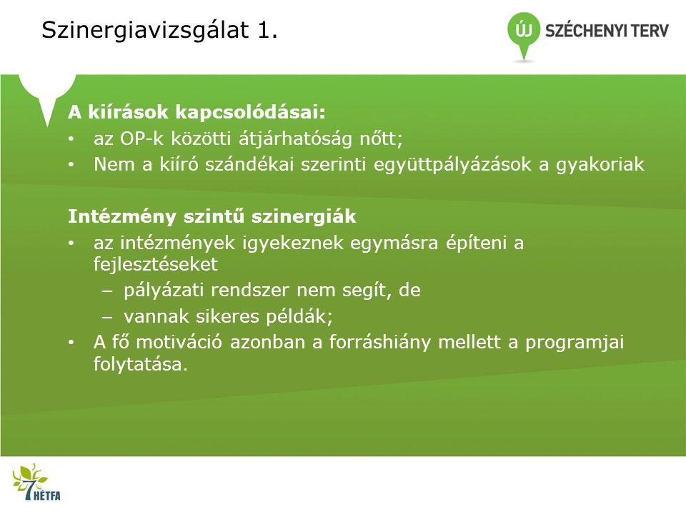 Szinergiavizsgálat 1. A kiírások kapcsolódásai: