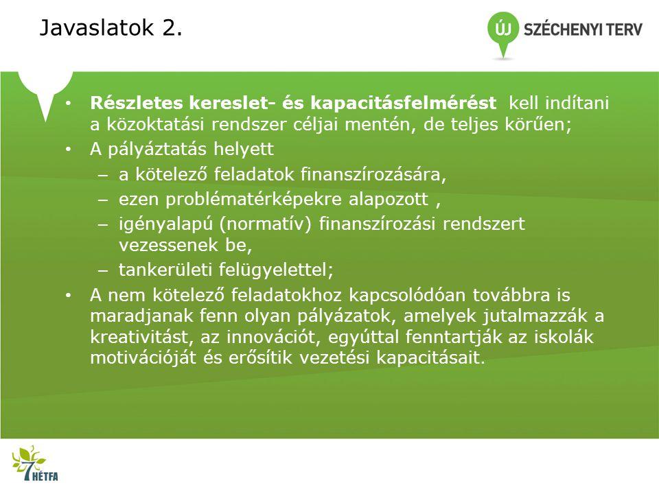 Javaslatok 2. Részletes kereslet- és kapacitásfelmérést kell indítani a közoktatási rendszer céljai mentén, de teljes körűen;