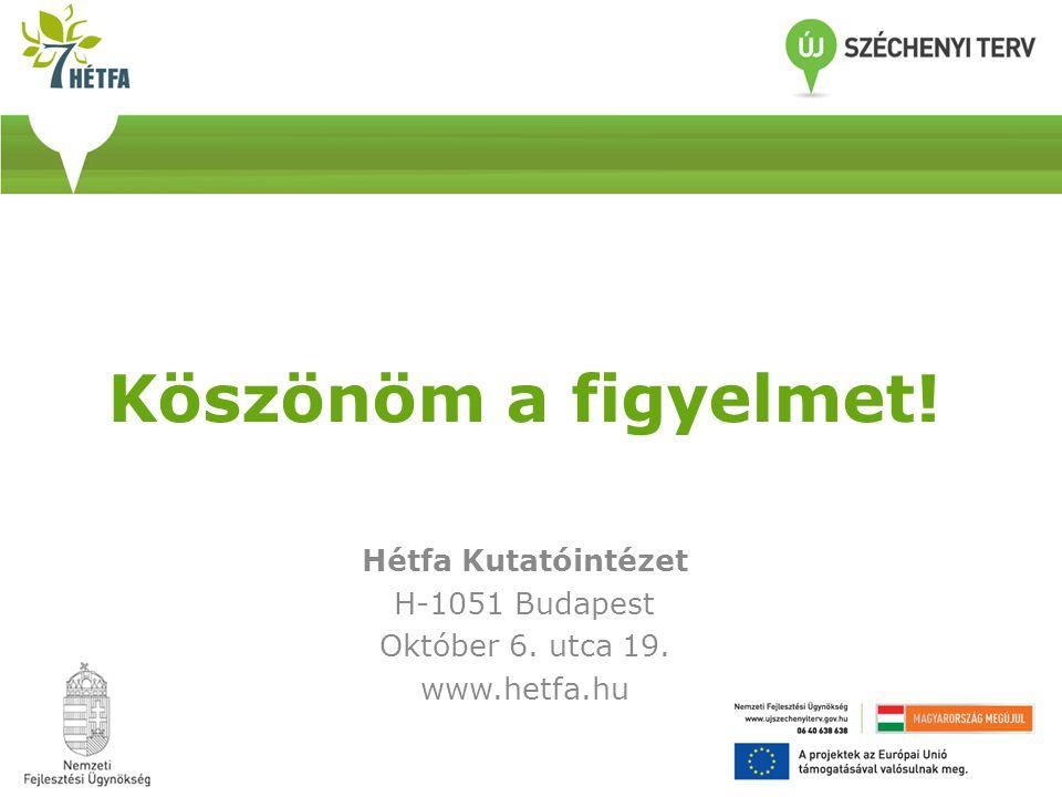 Köszönöm a figyelmet! Hétfa Kutatóintézet H-1051 Budapest