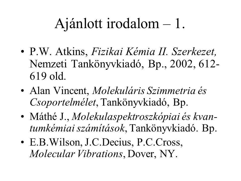 Ajánlott irodalom – 1. P.W. Atkins, Fizikai Kémia II. Szerkezet, Nemzeti Tankönyvkiadó, Bp., 2002, 612-619 old.