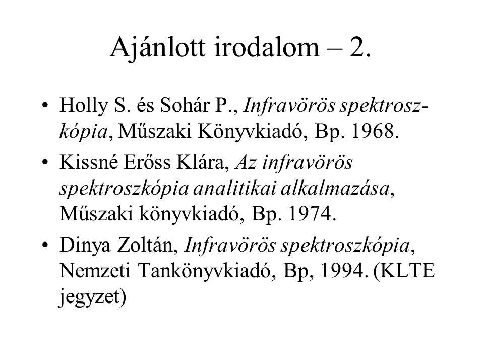 Ajánlott irodalom – 2. Holly S. és Sohár P., Infravörös spektrosz-kópia, Műszaki Könyvkiadó, Bp. 1968.
