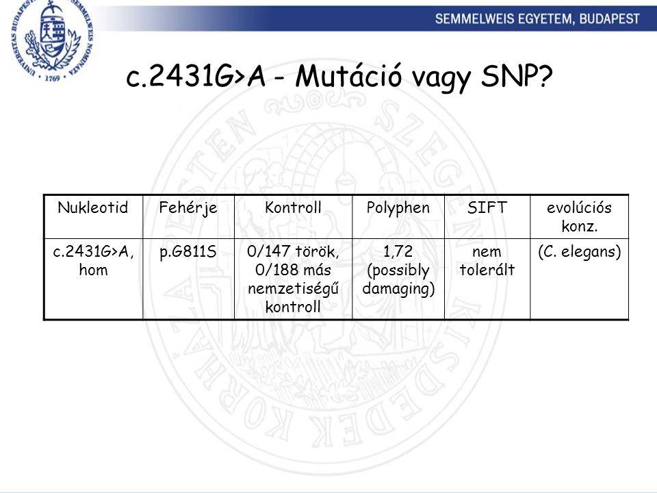 c.2431G>A - Mutáció vagy SNP