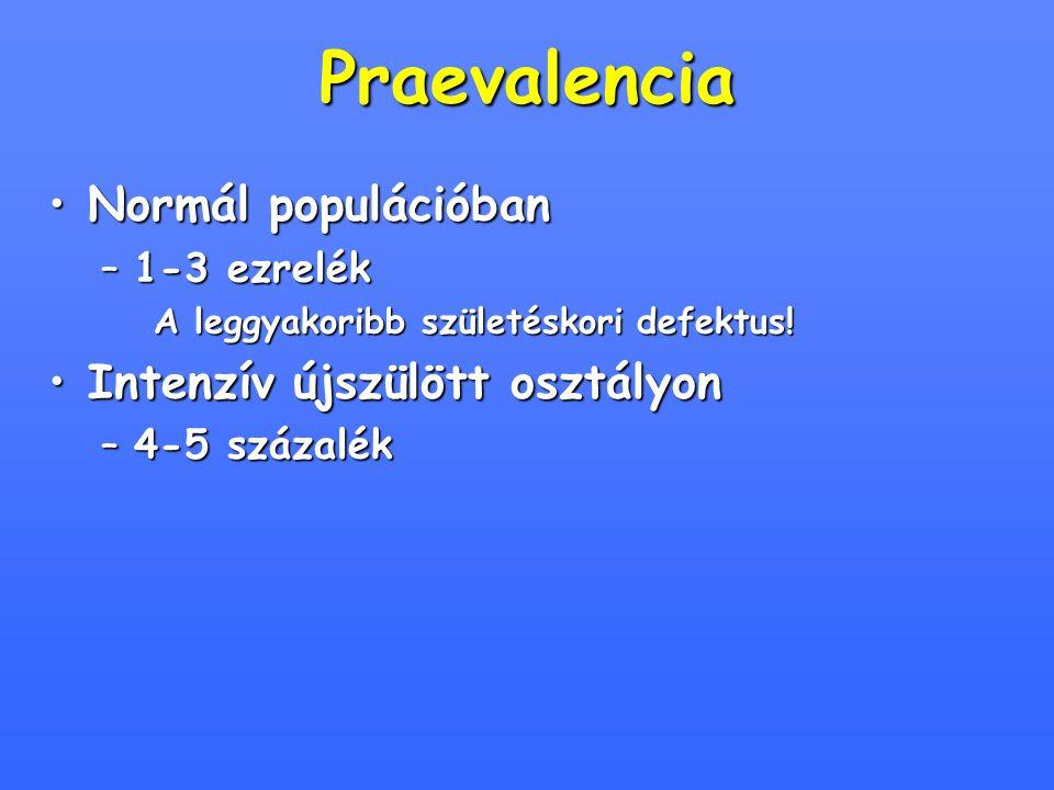 Praevalencia Normál populációban Intenzív újszülött osztályon