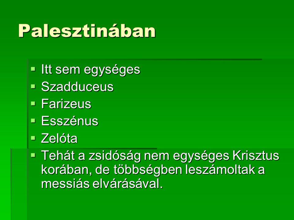 Palesztinában Itt sem egységes Szadduceus Farizeus Esszénus Zelóta
