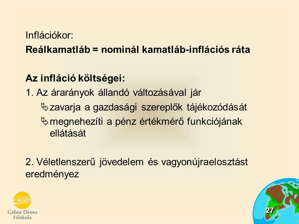 Inflációkor: Reálkamatláb = nominál kamatláb-inflációs ráta. Az infláció költségei: 1. Az árarányok állandó változásával jár.