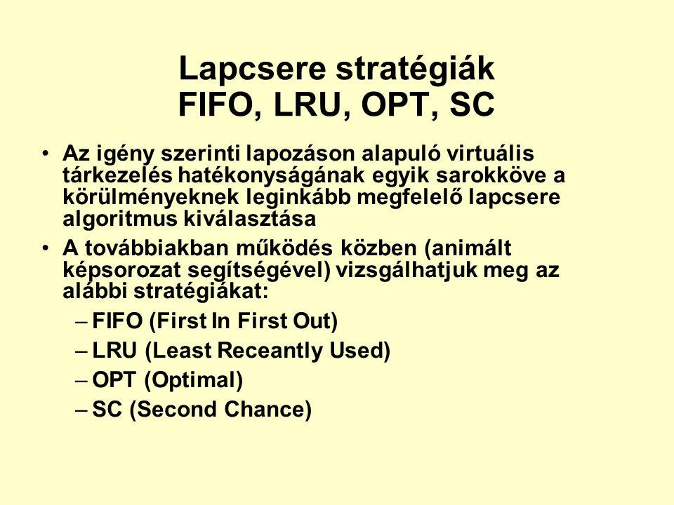 Lapcsere stratégiák FIFO, LRU, OPT, SC