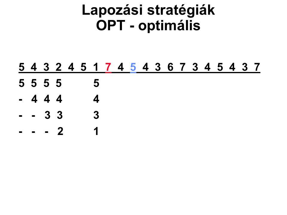 Lapozási stratégiák OPT - optimális
