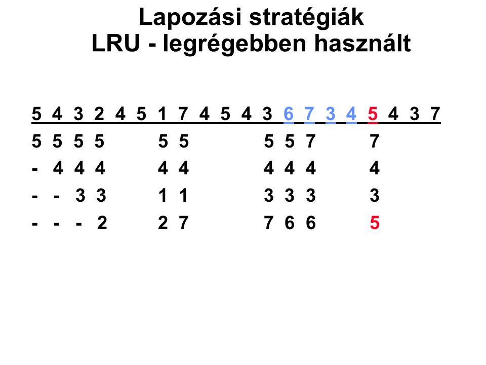 Lapozási stratégiák LRU - legrégebben használt