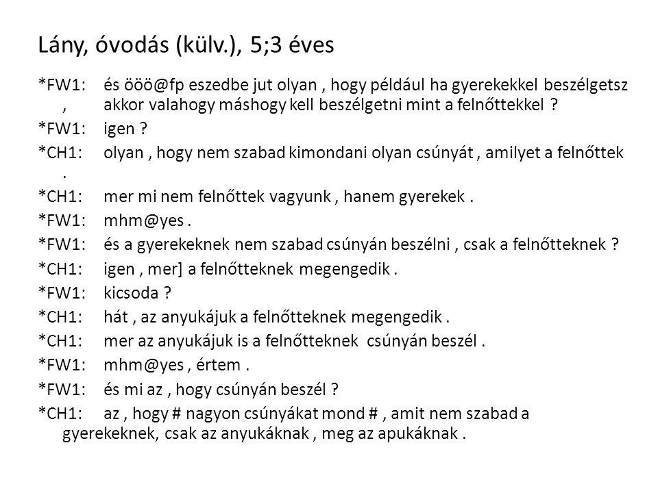 Lány, óvodás (külv.), 5;3 éves