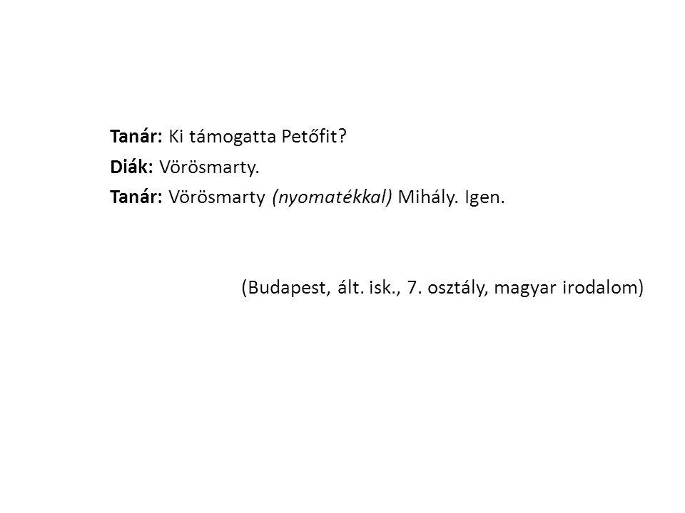 Tanár: Ki támogatta Petőfit