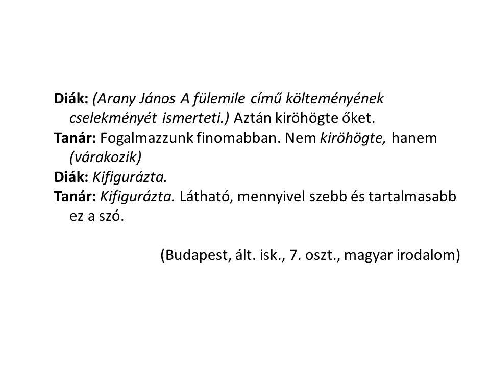 Diák: (Arany János A fülemile című költeményének cselekményét ismerteti.) Aztán kiröhögte őket.