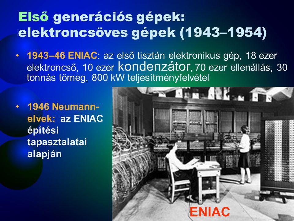 Első generációs gépek: elektroncsöves gépek (1943–1954)
