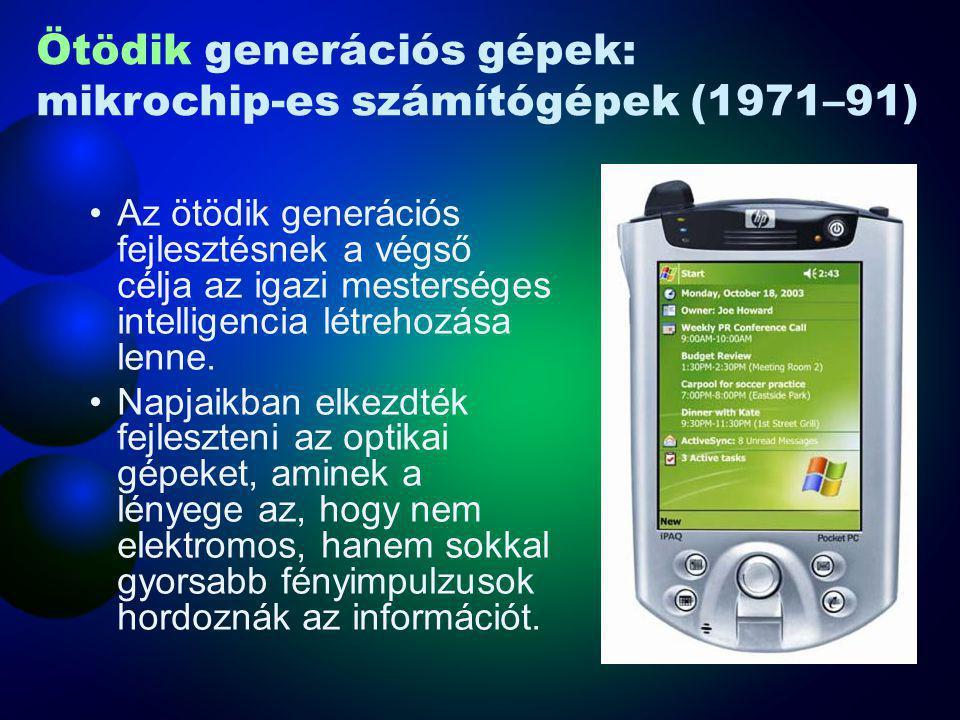 Ötödik generációs gépek: mikrochip-es számítógépek (1971–91)
