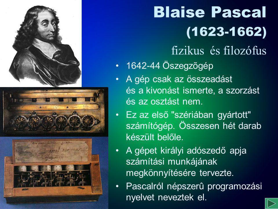 Blaise Pascal (1623-1662) fizikus és filozófus