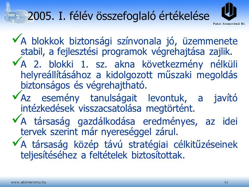 2005. I. félév összefoglaló értékelése