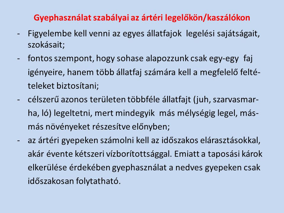 Gyephasználat szabályai az ártéri legelőkön/kaszálókon