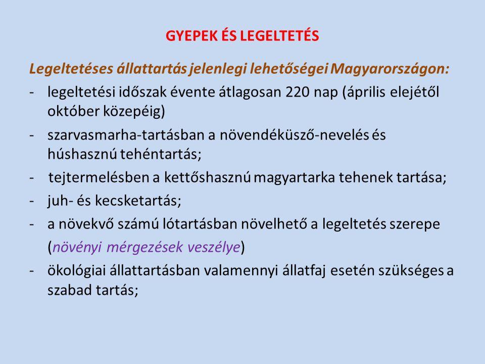 GYEPEK ÉS LEGELTETÉS Legeltetéses állattartás jelenlegi lehetőségei Magyarországon: