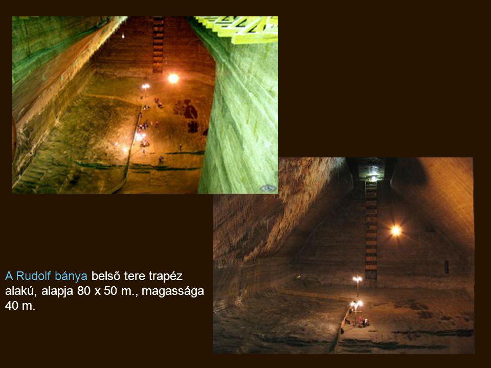 A Rudolf bánya belső tere trapéz alakú, alapja 80 x 50 m