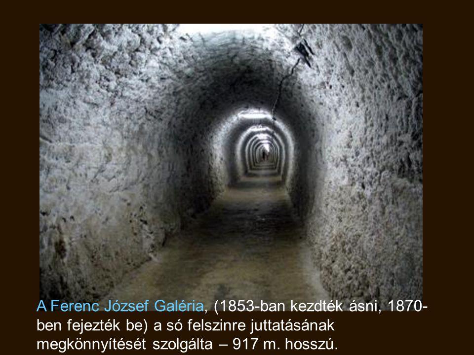 A Ferenc József Galéria, (1853-ban kezdték ásni, 1870-ben fejezték be) a só felszinre juttatásának megkönnyítését szolgálta – 917 m.