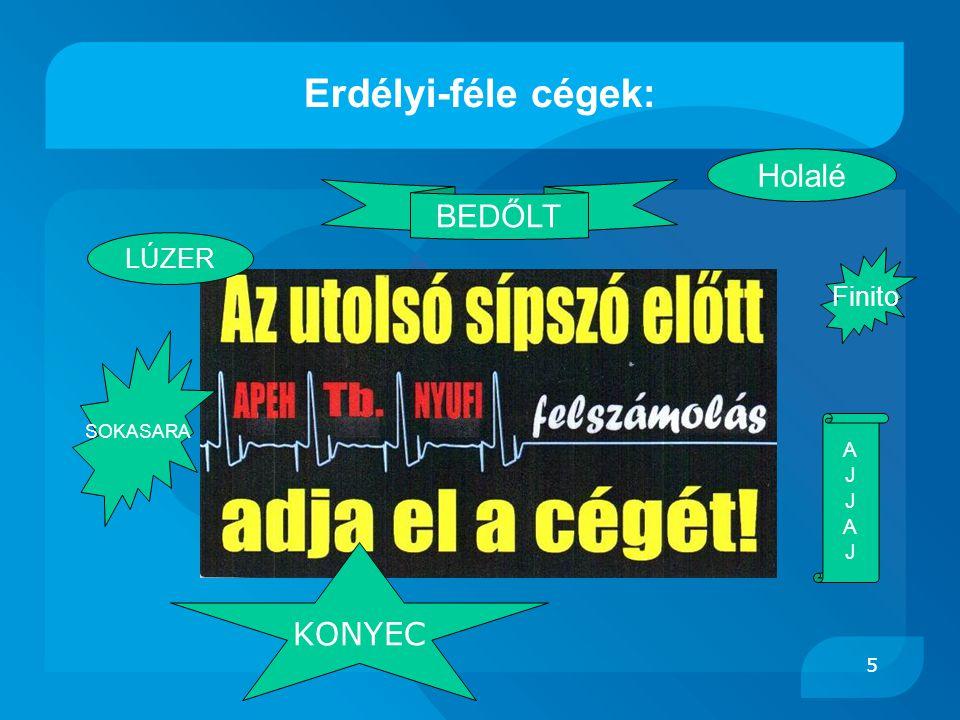 Erdélyi-féle cégek: Holalé BEDŐLT LÚZER Finito SOKASARA A J KONYEC 5 5
