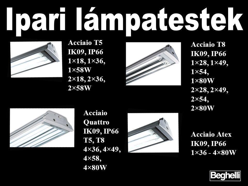 Ipari lámpatestek Acciaio T5 Acciaio T8 IK09, IP66 IK09, IP66