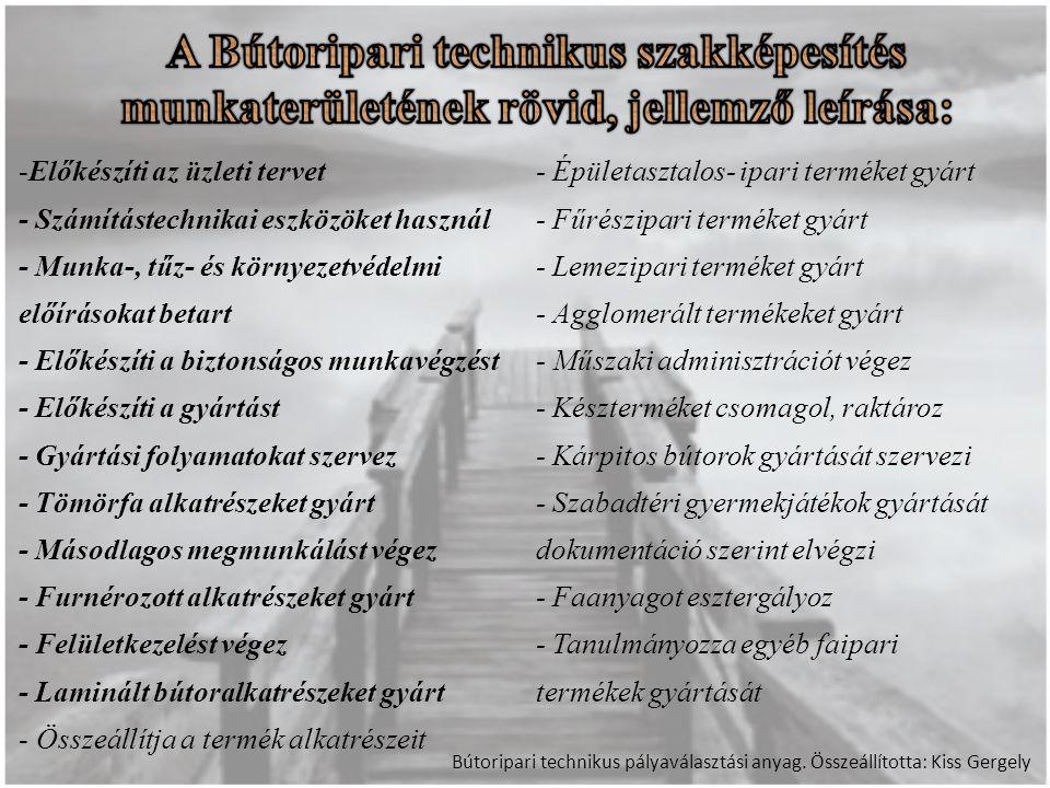 A Bútoripari technikus szakképesítés munkaterületének rövid, jellemző leírása: